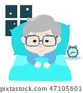 Grandfather insomnia cartoon vector. 47105601