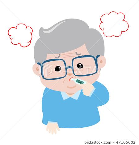 Grandpa got fever high temperature cartoon vector 47105602