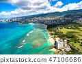 """""""夏威夷""""在威基基,瓦胡島""""航空攝影"""" 47106686"""