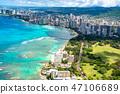 """""""夏威夷""""在威基基,瓦胡島""""航空攝影"""" 47106689"""