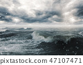 Stormy sea and clouds 47107471