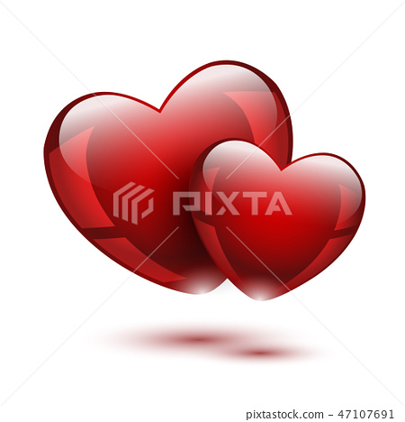 Two glass red hearts 47107691
