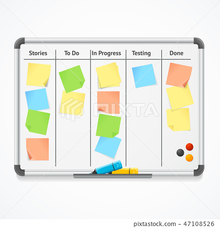 Realistic 3d Detailed Kanban Board with Color Sticky Notes and Markers. Vector 47108526