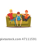 Male friends spending time together, guys sitting on a sofa and talking, best friends concept vector 47111591