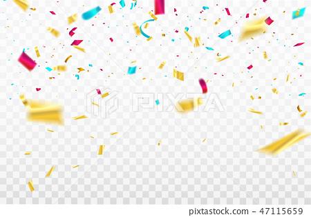 colorful confetti Celebration carnival ribbons. 47115659
