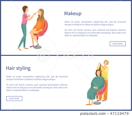 Hair Styling and Makeup Posters Set Text Spa Salon 47119479