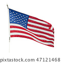 American flag waving  on white background 47121468