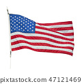 American flag waving  on white background 47121469