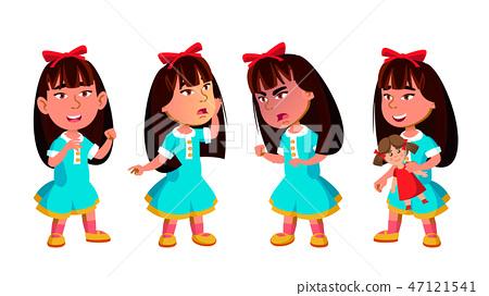 Asian Girl Kindergarten Kid Poses Set Vector. Preschool. Young Positive Person. Beauty. For Banner 47121541