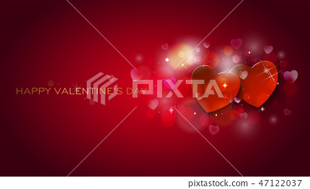 Greeting Card. Happy Valentines Day shinning hearts 47122037