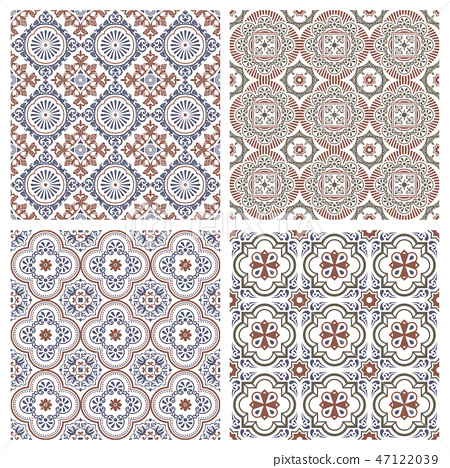 Floral seamless mosaic tile. Vector ceramic vintage pattern. Mediterranean, Ottoman 47122039