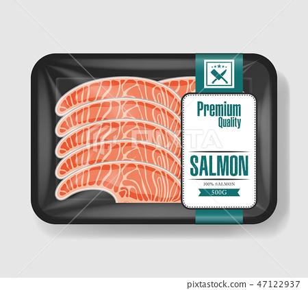 Salmon in plastic tray container with cellophane cover. Mockup template for your design. Plastic 47122937