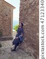 Caucasian young man relaxing in Majorca 47123340