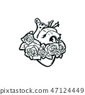 Anatomical heart with roses vector illustration 47124449