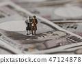 錢和男性和女性微縮模型 47124878