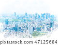 Tokyo landscape watercolor style 47125684
