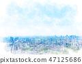 Tokyo landscape watercolor style 47125686