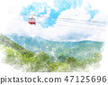 Nikko Mountains and Ake Chiping Observatory Watercolor style 47125696