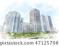 츠키 시마의 고층 아파트 군 수채화 화풍 47125708
