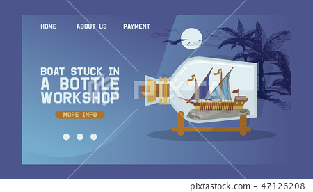 Ship in bottle vector boat in miniature landing web page backdrop traveling sail souvenir in glass 47126208