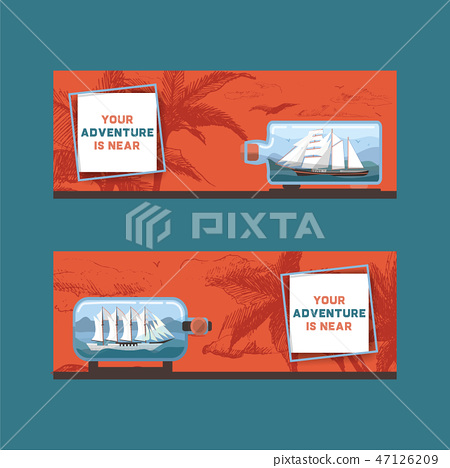 Ship in bottle vector travel boat in miniature backdrop traveling sail souvenir in glass sailboat 47126209