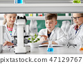 kids or students with plant at biology class 47129767