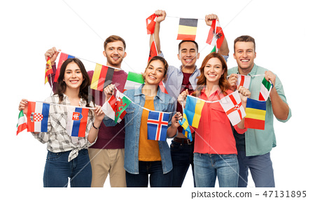 happy friends with flags of different countries 47131895
