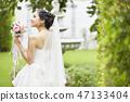女性肖像婚姻新娘 47133404