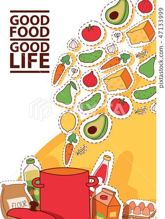 Food stickers vector illustration. Good food good life concept banner flyer brochure poster. 47133999