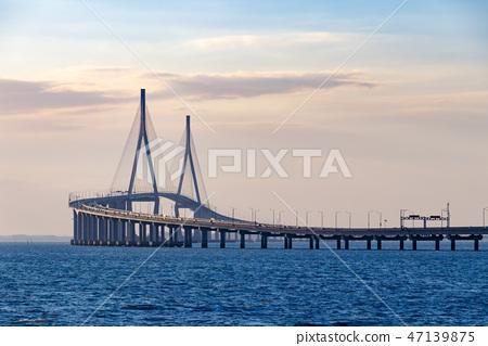 Incheon Bridge. Sea and Incheon Bridge. 47139875
