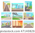 Flat vector set of urban landscapes with roads and high-rise buildings. Empty city streets. Modern 47140826