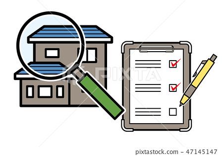 家庭評估圖像(家庭和放大鏡和清單)的插圖 47145147