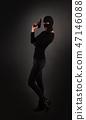 Girl in Black with Gun 47146088