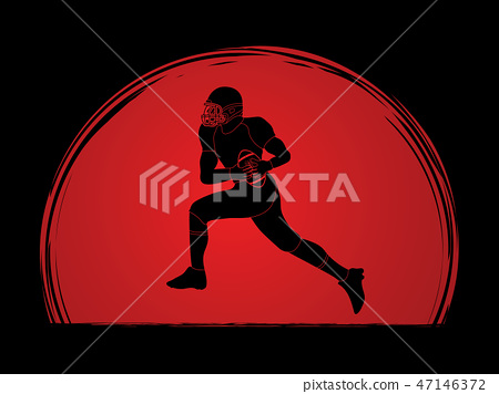 American football running graphic vector. 47146372