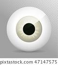 Eye, gray. Realistic 3d eyeball iris,pupil Icon  47147575