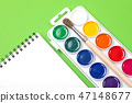 Watercolor paints and brushes with canvas for painting with copyspace on green background 47148677