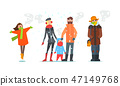 Warmly dressed people, winter time vector Illustration 47149768