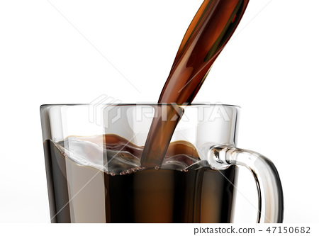 Pouring coffee into a glass mug. Close up view. 47150682