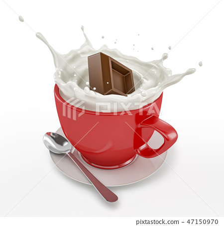 Red cup full of milk with chocolate cube splashing 47150970