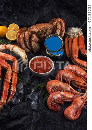 Set of fresh seafood 47151235