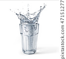 Glass with water splash on white background 47151277