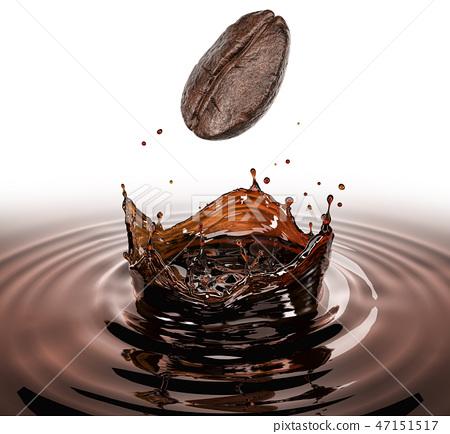 Coffee Bean Falling Splashing In A Pool Of Coffee Stock