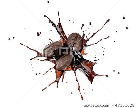 Coffee beans splashing in liquid coffee in the air 47151629