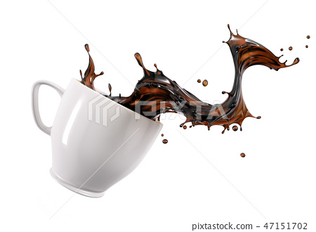 Liquid coffee wave splashing out from a white cup. 47151702