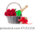 Champagne and rose flowers 47152159