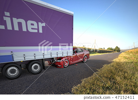 Vehicles accident. Car crashed against a big truck 47152411