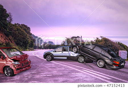 Three cars accident. Crashed on the road. 47152413