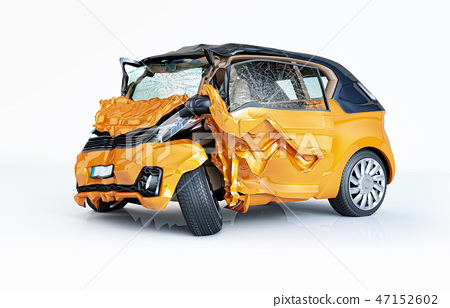 Car crashed. Yellow city car damaged on the front. 47152602