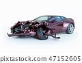 Single car crashed. Purple sport car damaged  47152605