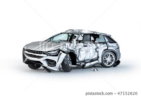 Single car crashed. Silver sedan damaged on a side 47152620